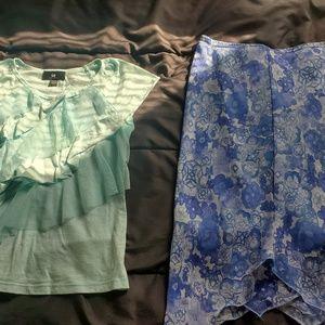 girl Med . blue flower skirt and top